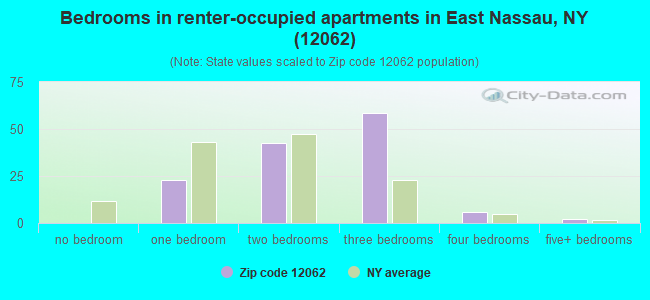 Bedrooms in renter-occupied apartments in East Nassau, NY (12062)