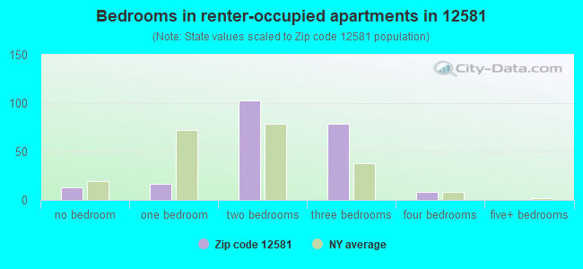 Bedrooms in renter-occupied apartments in 12581