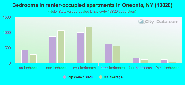 Bedrooms in renter-occupied apartments in Oneonta, NY (13820)