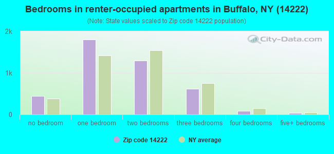 Bedrooms in renter-occupied apartments in Buffalo, NY (14222)