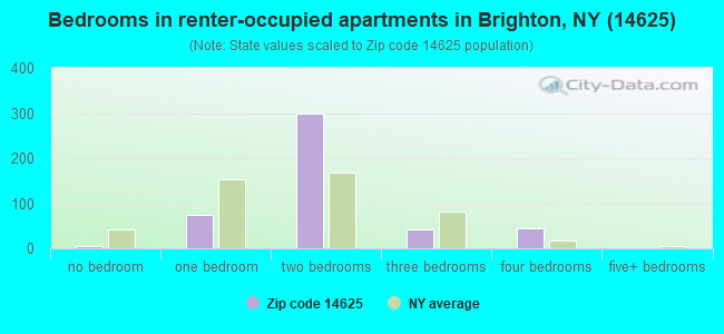 Bedrooms in renter-occupied apartments in Brighton, NY (14625)