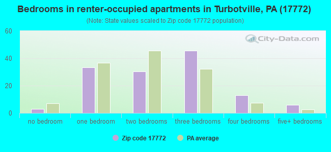 Bedrooms in renter-occupied apartments in Turbotville, PA (17772)