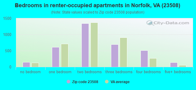 Bedrooms in renter-occupied apartments in Norfolk, VA (23508)