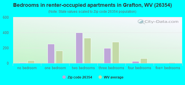 Bedrooms in renter-occupied apartments in Grafton, WV (26354)