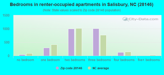 Bedrooms in renter-occupied apartments in Salisbury, NC (28146)