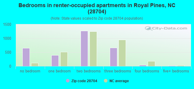 Bedrooms in renter-occupied apartments in Royal Pines, NC (28704)