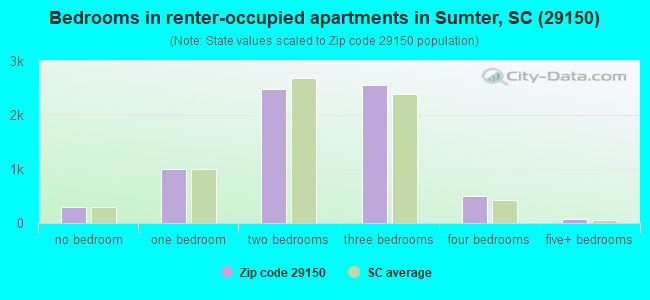 Bedrooms in renter-occupied apartments in Sumter, SC (29150)