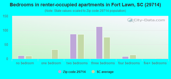 Bedrooms in renter-occupied apartments in Fort Lawn, SC (29714)