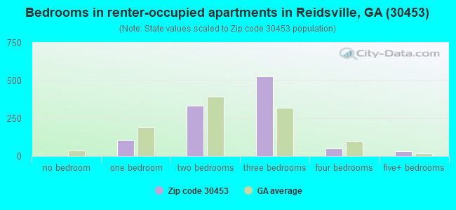 Bedrooms in renter-occupied apartments in Reidsville, GA (30453)