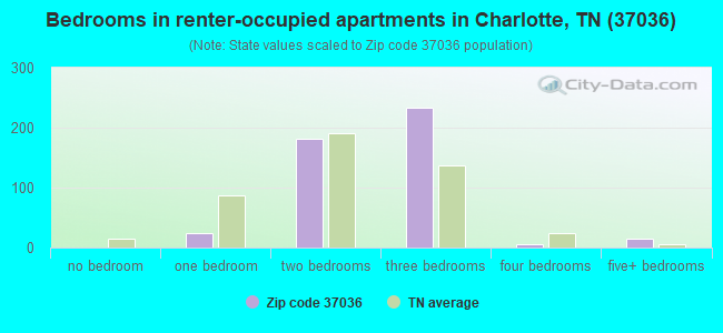 Bedrooms in renter-occupied apartments in Charlotte, TN (37036)