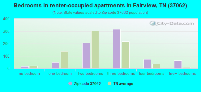 Bedrooms in renter-occupied apartments in Fairview, TN (37062)