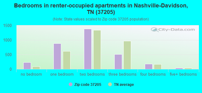 Bedrooms in renter-occupied apartments in Nashville-Davidson, TN (37205)