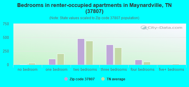 Bedrooms in renter-occupied apartments in Maynardville, TN (37807)