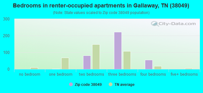 Bedrooms in renter-occupied apartments in Gallaway, TN (38049)
