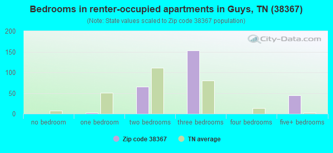 Bedrooms in renter-occupied apartments in Guys, TN (38367)