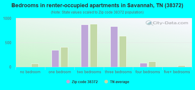 Bedrooms in renter-occupied apartments in Savannah, TN (38372)