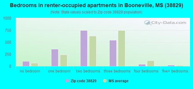 Bedrooms in renter-occupied apartments in Booneville, MS (38829)