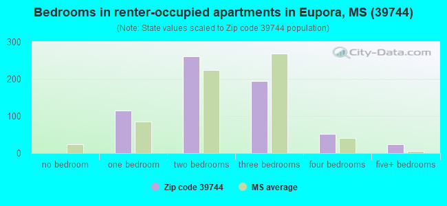Bedrooms in renter-occupied apartments in Eupora, MS (39744)