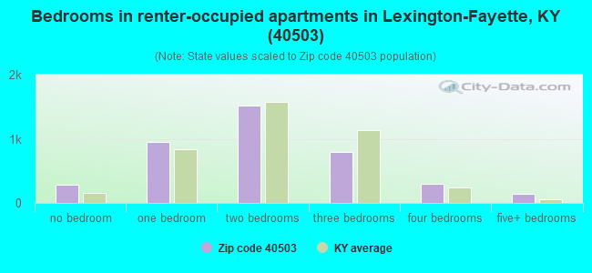 Bedrooms in renter-occupied apartments in Lexington-Fayette, KY (40503)