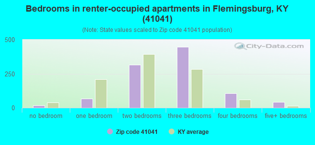 Bedrooms in renter-occupied apartments in Flemingsburg, KY (41041)