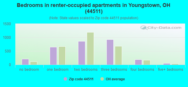 Bedrooms in renter-occupied apartments in Youngstown, OH (44511)