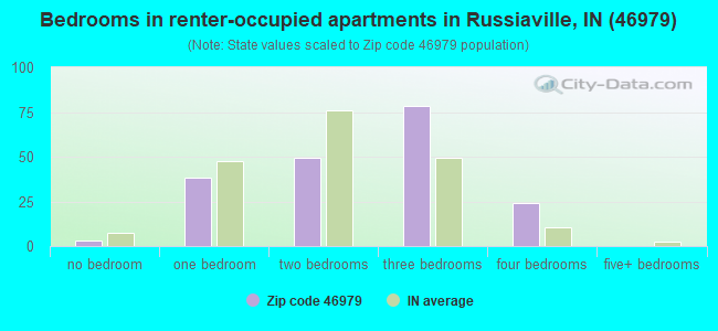 Bedrooms in renter-occupied apartments in Russiaville, IN (46979)