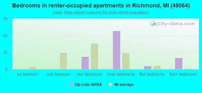 Bedrooms in renter-occupied apartments in Richmond, MI (48064)