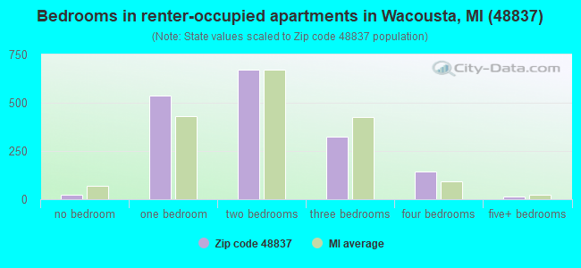 Bedrooms in renter-occupied apartments in Wacousta, MI (48837)