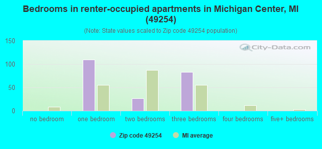 Bedrooms in renter-occupied apartments in Michigan Center, MI (49254)