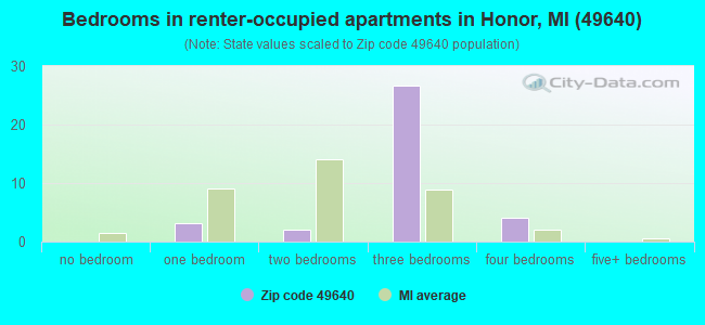 Bedrooms in renter-occupied apartments in Honor, MI (49640)