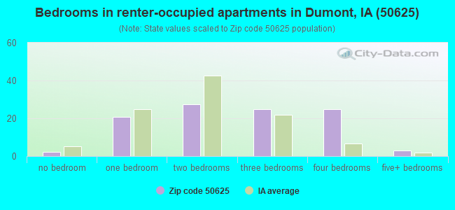 Bedrooms in renter-occupied apartments in Dumont, IA (50625)