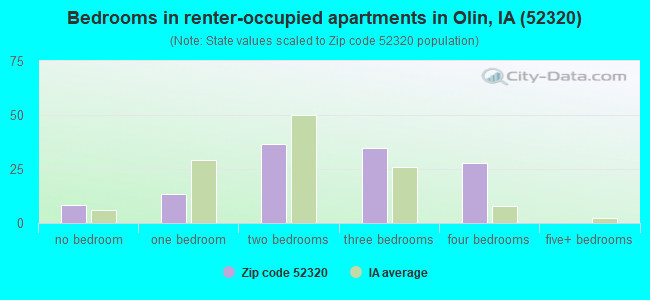 Bedrooms in renter-occupied apartments in Olin, IA (52320)