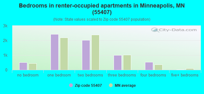 Bedrooms in renter-occupied apartments in Minneapolis, MN (55407)