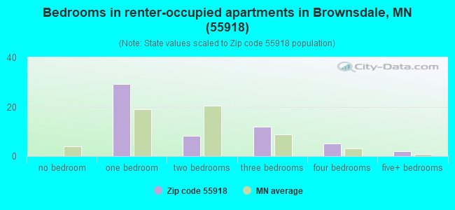 Bedrooms in renter-occupied apartments in Brownsdale, MN (55918)