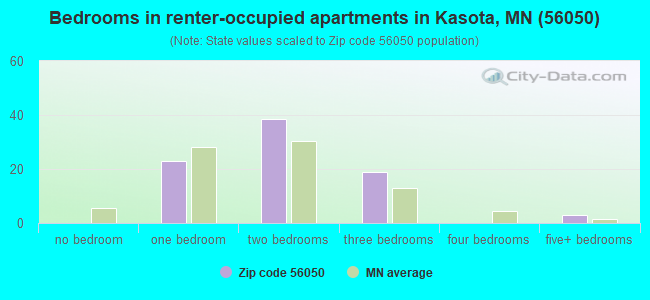 Bedrooms in renter-occupied apartments in Kasota, MN (56050)