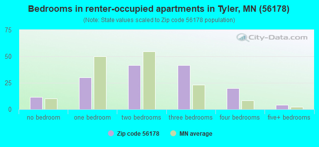 Bedrooms in renter-occupied apartments in Tyler, MN (56178)