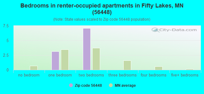 Bedrooms in renter-occupied apartments in Fifty Lakes, MN (56448)