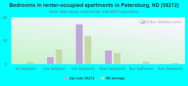 Bedrooms in renter-occupied apartments in Petersburg, ND (58272)