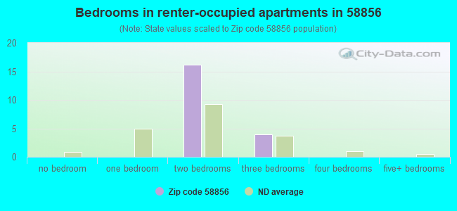 Bedrooms in renter-occupied apartments in 58856
