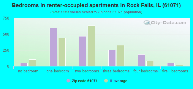 Bedrooms in renter-occupied apartments in Rock Falls, IL (61071)
