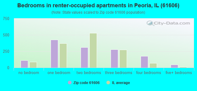 Bedrooms in renter-occupied apartments in Peoria, IL (61606)
