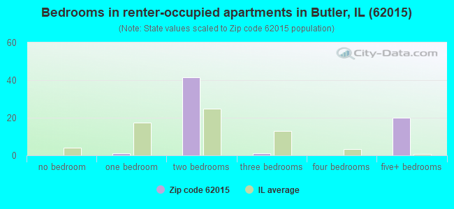 Bedrooms in renter-occupied apartments in Butler, IL (62015)