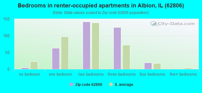 Bedrooms in renter-occupied apartments in Albion, IL (62806)