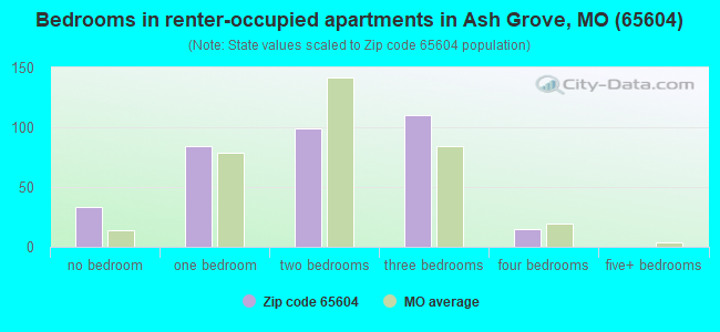 Bedrooms in renter-occupied apartments in Ash Grove, MO (65604)