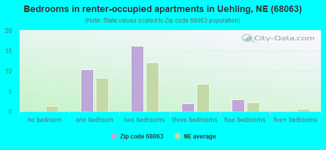 Bedrooms in renter-occupied apartments in Uehling, NE (68063)