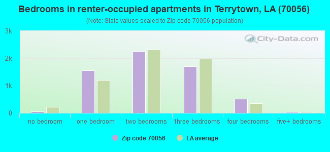 Bedrooms in renter-occupied apartments in Terrytown, LA (70056)