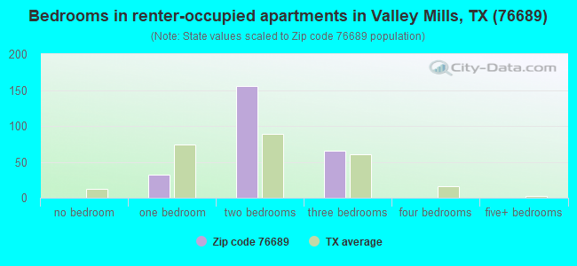 Bedrooms in renter-occupied apartments in Valley Mills, TX (76689)