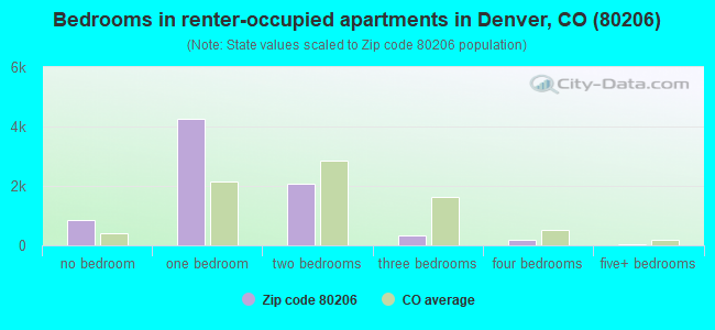 Bedrooms in renter-occupied apartments in Denver, CO (80206)