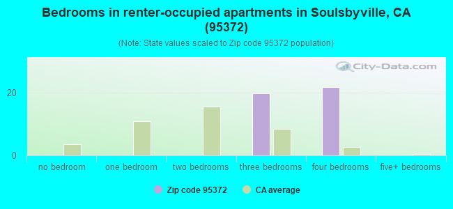 Bedrooms in renter-occupied apartments in Soulsbyville, CA (95372)