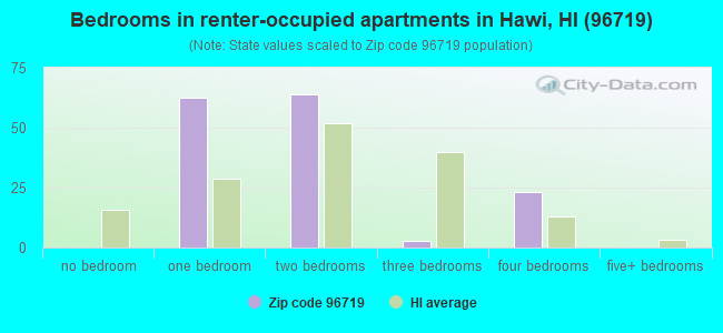 Bedrooms in renter-occupied apartments in Hawi, HI (96719)